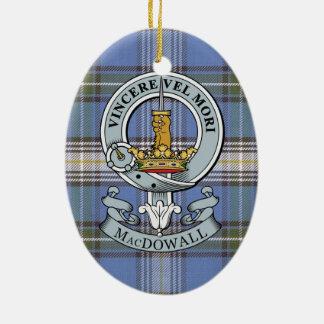 MacDowall Crest + Tartan Oval Ornament