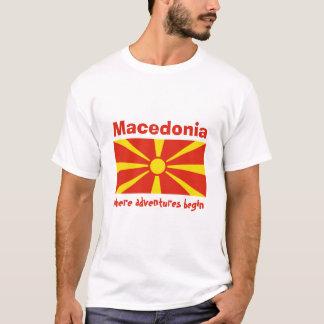 Macedonia Flag + Map + Text T-Shirt