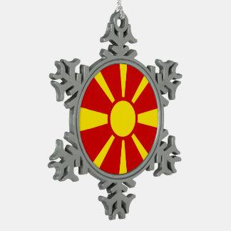 Macedonia Flag Snowflake Pewter Christmas Ornament