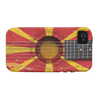 Macedonian Flag on Old Acoustic Guitar Vibe iPhone 4 Case