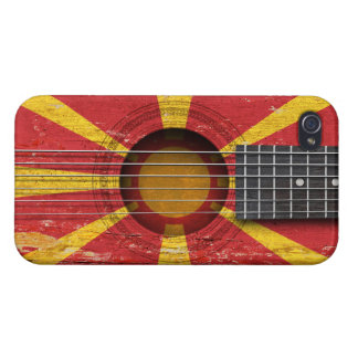 Macedonian Flag on Old Acoustic Guitar Cases For iPhone 4