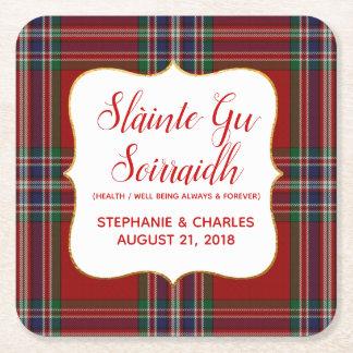 MacFarlane Plaid Gaelic Wedding Paper Coasters