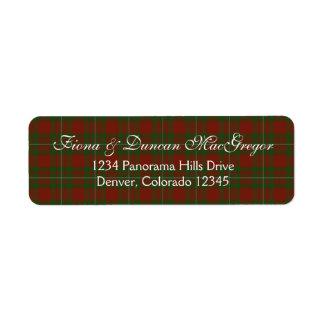 MacGregor Cardney Tartan Scottish Return Address