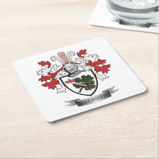 MacGregor Family Crest Coat of Arms Square Paper Coaster
