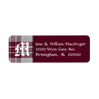 MacGregor Tartan Plaid Monogram Address Labels