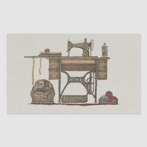 Machine coudre et chatons de p dale sticker for Machine a coudre 91
