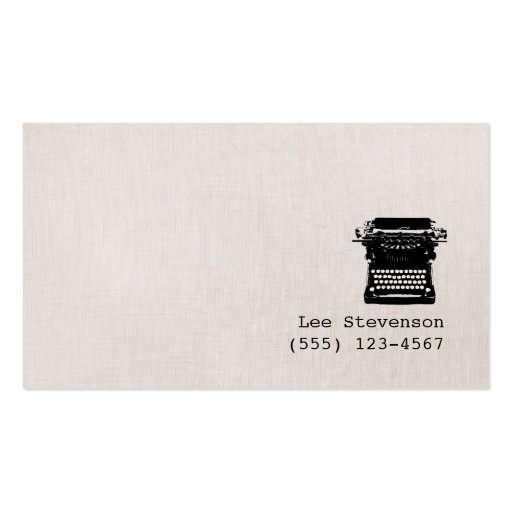 Machine à écrire vintage de toile de Faux d'auteur Carte De Visite