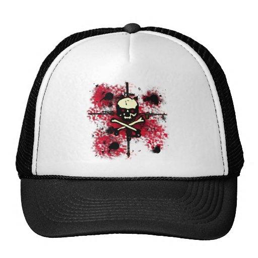 Machine Gun Shots Skull Shirt Mesh Hat