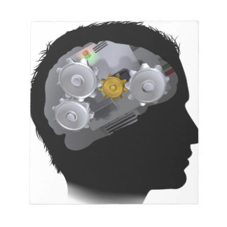 Machine Workings Gears Cogs Brain Man Notepads