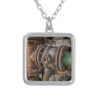 machinery silver plated necklace