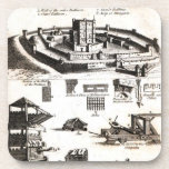Machines of War and Castle Diagram Beverage Coaster