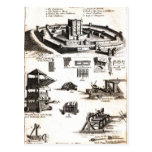 Machines of War and Castle Diagram Postcard
