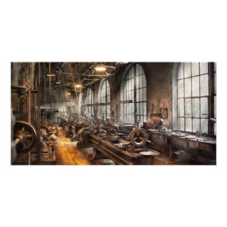 Machinist - A room full of Lathes Photo Cards