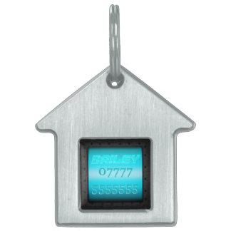 Macho Monogram, riveted steel-frame sky blue panel Pet Name Tag