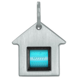 Macho Monogram, riveted steel-frame sky blue panel Pet Tags
