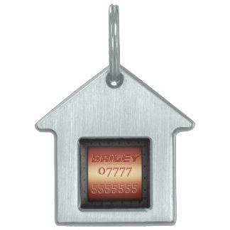Macho Monogram, riveted steel-framed copper effect Pet ID Tag