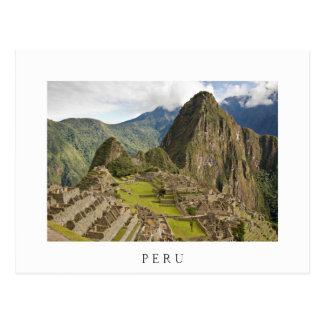 Machu Picchu, inca city in Peru white postcard