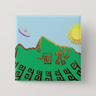 Machu Picchu Peru Drawing 2 Inch Square Button