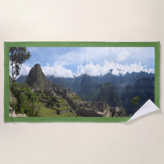 Machu Picchu Peru, green border Beach Towel