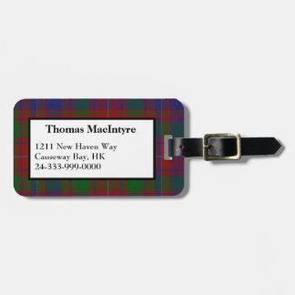 MacIntyre Clan Tartan Plaid Luggage Tag