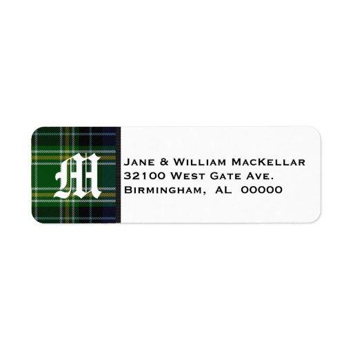 MacKellar Tartan Plaid Monogram Address Labels