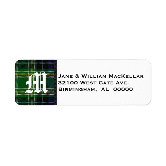 MacKellar Tartan Plaid Monogram Address Labels