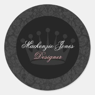 Mackenzie Black Damask Chic Round Sticker