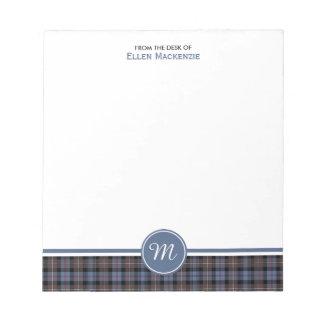Mackenzie Clan Weathered Tartan Monogram Note Pad