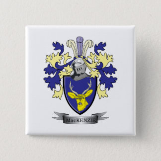 MacKenzie Family Crest Coat of Arms 2 Inch Square Button