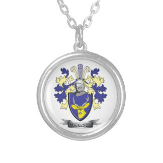 MacKenzie Family Crest Coat of Arms Silver Plated Necklace