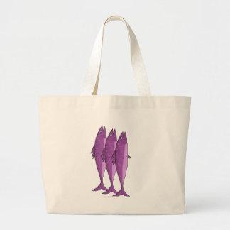 Mackerel - magenta large tote bag