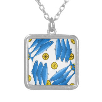 Mackerel meal 2 silver plated necklace
