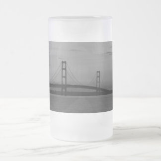 Mackinac Bridge At Dusk Grayscale Frosted Glass Beer Mug