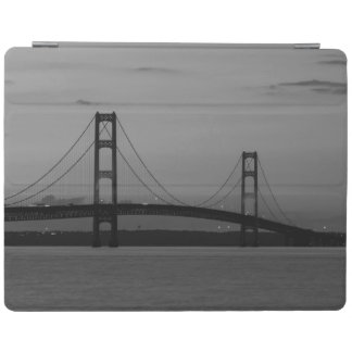 Mackinac Bridge At Dusk Grayscale iPad Cover