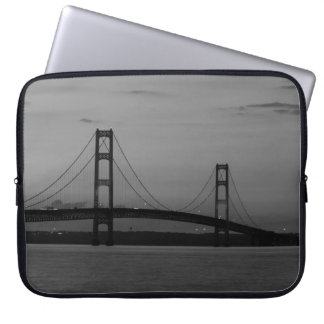 Mackinac Bridge At Dusk Grayscale Laptop Sleeve