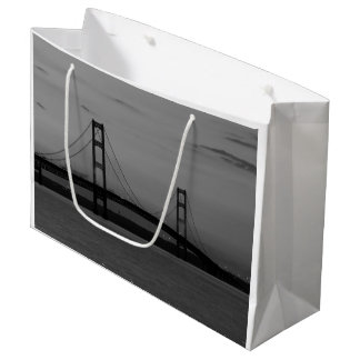 Mackinac Bridge At Dusk Grayscale Large Gift Bag