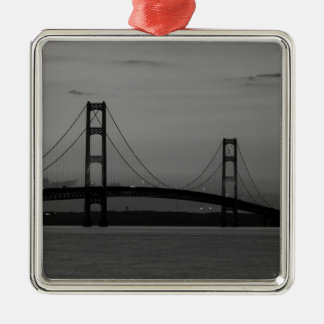 Mackinac Bridge At Dusk Grayscale Metal Ornament