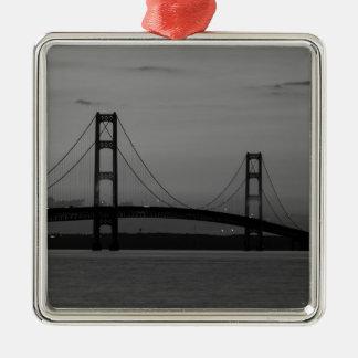Mackinac Bridge At Dusk Grayscale Metal Ornament