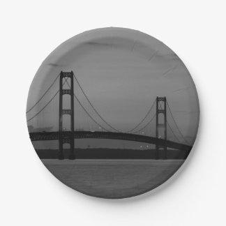 Mackinac Bridge At Dusk Grayscale Paper Plate