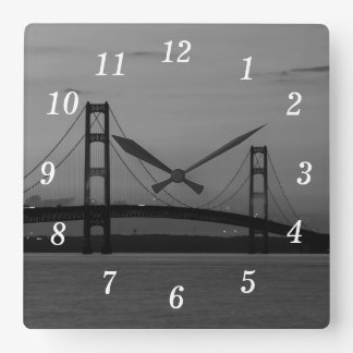 Mackinac Bridge At Dusk Grayscale Square Wall Clock