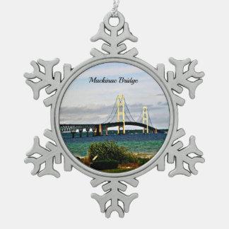 Mackinac Bridge, Mackinac Island Snowflake Pewter Christmas Ornament