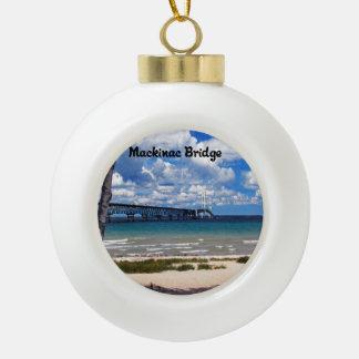 Mackinac Bridge Michigan Ceramic Ball Ornament
