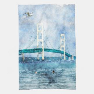 Mackinac Bridge Scenic Watercolor Art Kitchen Towel