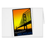 Mackinac Brige Greetings from Michigan! Greeting Cards