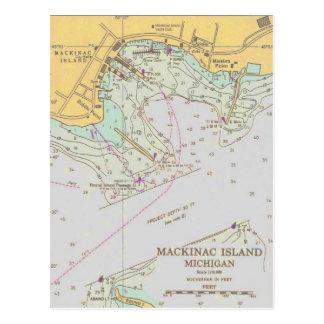 Mackinac Island harbor nautical chart post card
