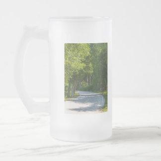 Mackinac Lake Shore Drive Frosted Glass Beer Mug