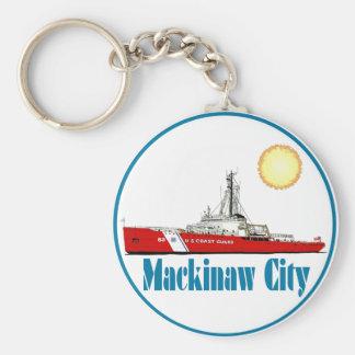 Mackinaw City Michigan Basic Round Button Keychain