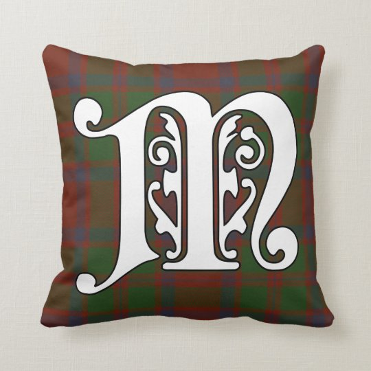 MacKintosh Clan Tartan Monogram Throw Pillow