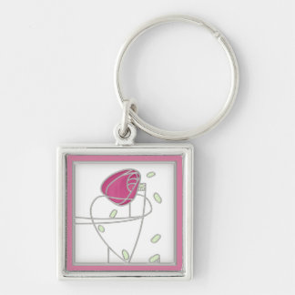 Mackintosh Rose Art Nouveau Flowers in Pink Silver-Colored Square Keychain