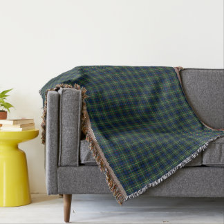 MacLaren Clan Blue, Green, and Yellow Tartan Throw Blanket